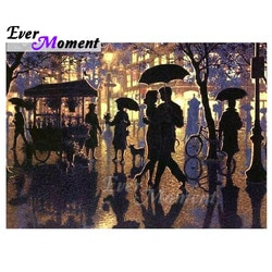 Sempre momento pintura diamante noite dança chuvosa arte completa quadrado broca ponto cruz diamante bordado decoração s2f2203