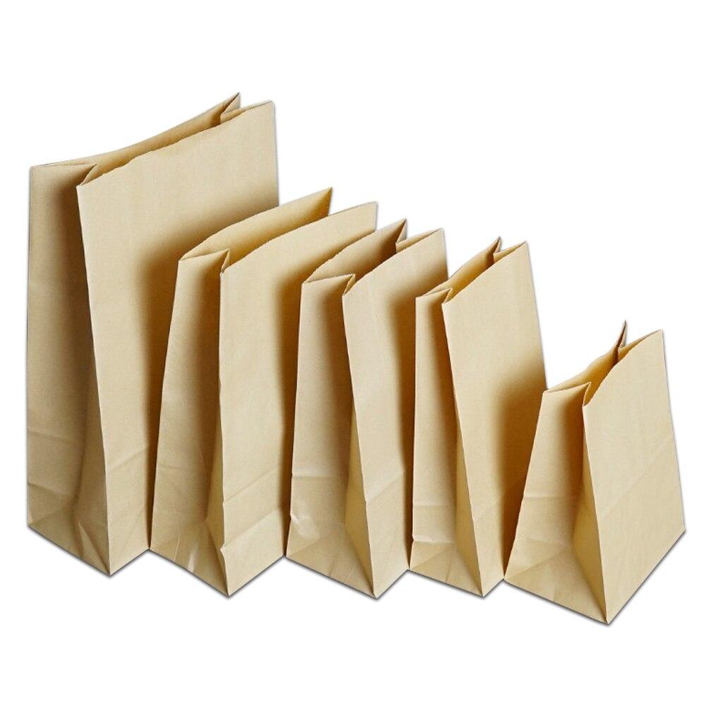 100 قطعة/الوحدة متعددة الأحجام براون مكشوفة كرافت ورقة حزمة الحقائب ل الجافة الغذاء شطيرة تخزين كرافت ورقة هدية التعبئة والتغليف حقيبة