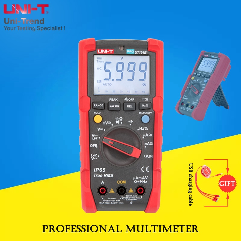 UNI-T UT191T/UT191E True RMS Professional Multimeter; IP65 Waterproof/Dustproof/LPF Low Pass Filter/LoZ Voltage Measurement