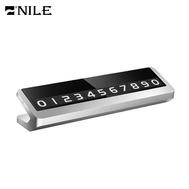 Tarjeta de placa de número de teléfono de estacionamiento de Metal de aleación de Nilo para movimiento de coche Universal oculto Auto móvil temporal señal de Color cambio