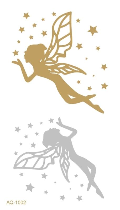 Armazón de plata de oro metálico arte temporal tatuaje Flash tatuaje Hada de las flores Henna tatuaje arte corporal tatuaje pegatinas para mujeres TJ-002