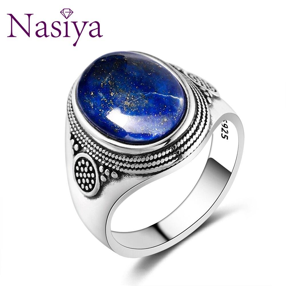Мужское кольцо Nasiya, Роскошное винтажное кольцо из стерлингового серебра 10x14 мм, большие овальные лазуритовые кольца для мужчин, ювелирные украшения, вечерние ювелирные изделия на годовщину