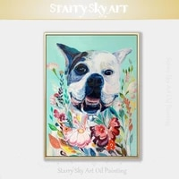 artist hand painted high quality rich colors fine art bulldog oil painting on canvas funny dog oil painting for wall decoration