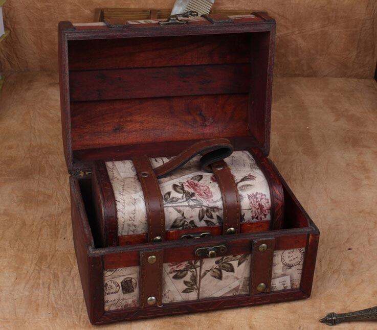 ¡Envío gratis! cajas de joyería de sellos Retro/caja de princesa europea/conjunto con caja de regalo de madera retro/estuche para lápices