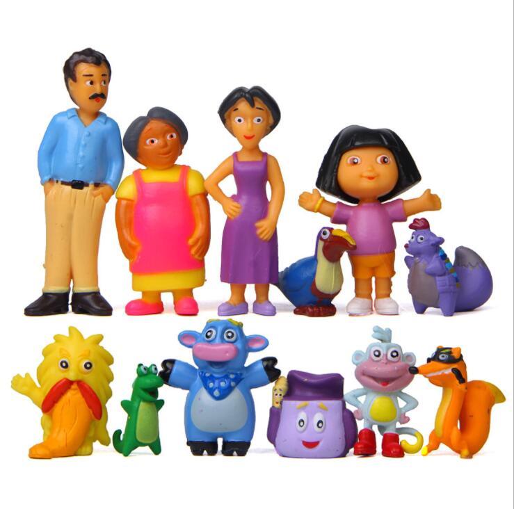 10 uds/1 lote Dora 3-7,2 cm figuras de acción juguetes juguete juguetes de modelos coleccionables #1392