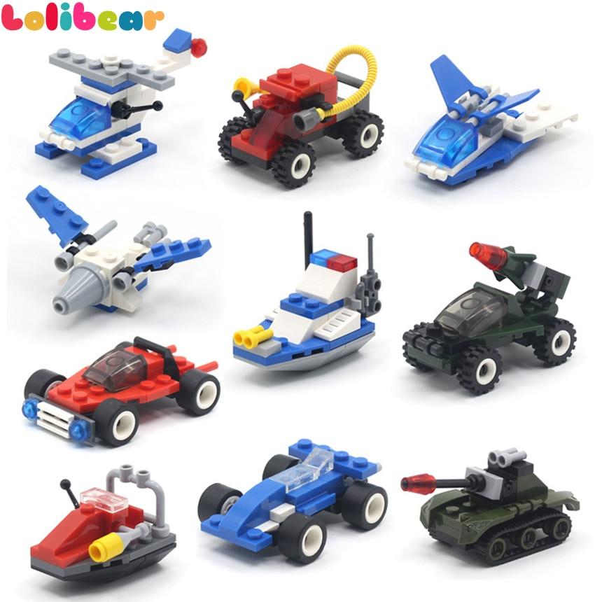 10Styles Mini Block Transportation Helicopter Truck Compatible Bricks Assembled Building Blocks Model Toys for Kids Boys Gift