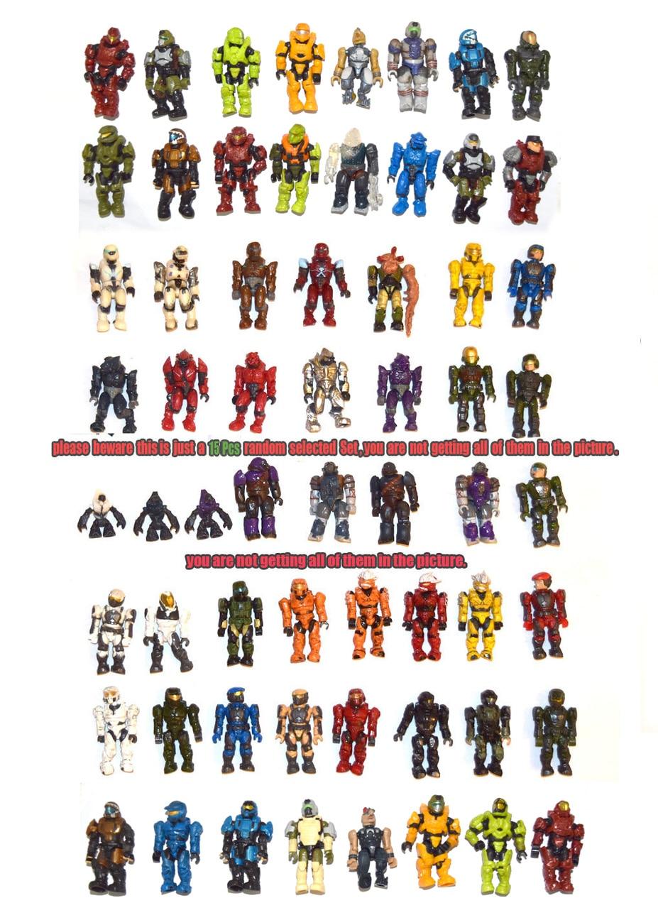 Набор из 15 случайных игрушек Halo Mega Bloks Reach Fig Master Cheif Spartan Grunts Brute Arbiter Elite