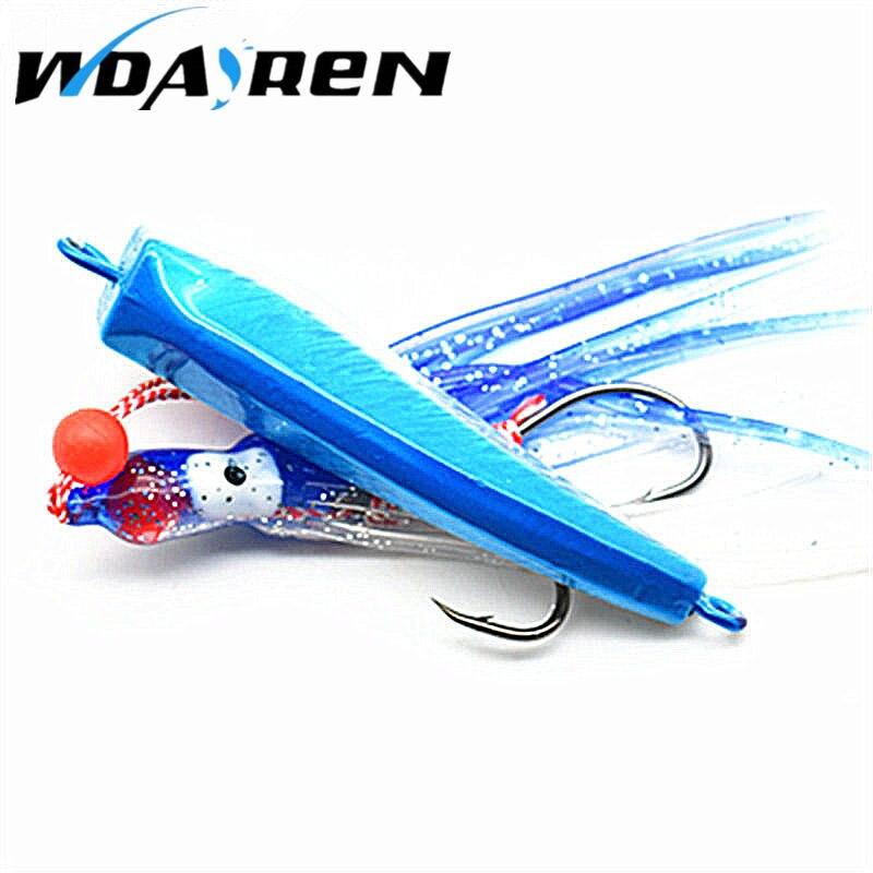 1 Uds 100g señuelo cuchara para pescar metal Jig head con pesca señuelo falda rápido hundimiento 3d calamar alta reflexión cebos 2 colores FA-174