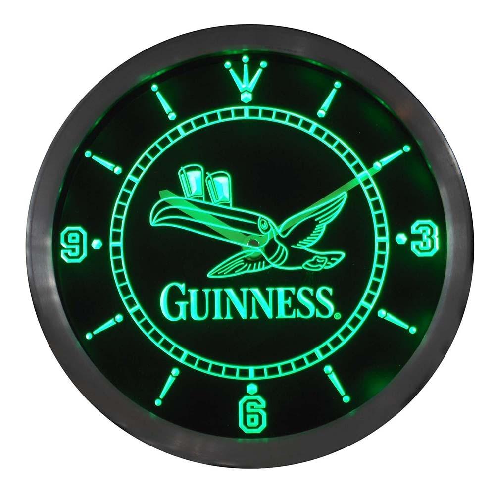 Nc0003, barra de cerveza Guinness Tucan, luces de neón, reloj de pared led