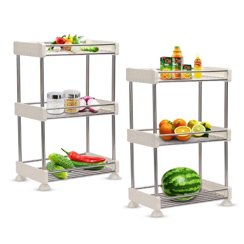 Étagère de rangement amovible   Étagère de rangement, salle de bain, cuisine, réfrigérateur, étagère de rangement latérale multicouches en acier inoxydable, organisateur de maison