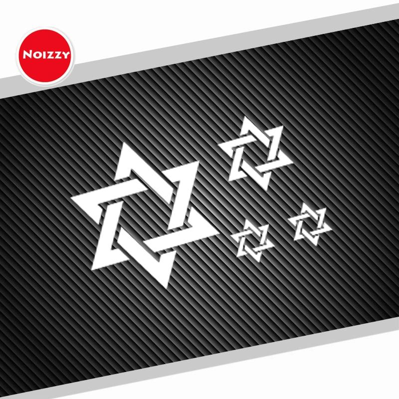 Noizzy 1 conjunto hexagram ho estrela de david etiqueta do carro vinil decalque auto reflexivo branco janela corpo ipad copo motocicleta tuning