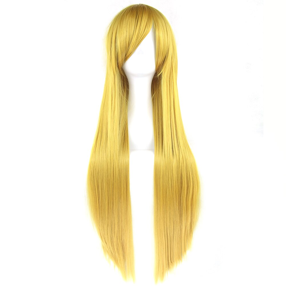 Soowee 24 Colors 80cm Long Women Synthetic Hair Cosplay Wig Heat Resistant Yellow Gray Straight Party Hair Wigs