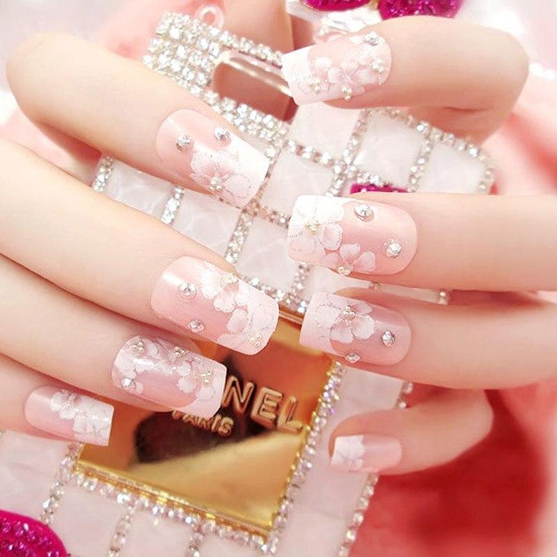 24 unids/set 3D uñas falsas arte niñas moda brillante Rhinestone uñas completas puntas flores impresión novia boda uñas Consejos con pegamento
