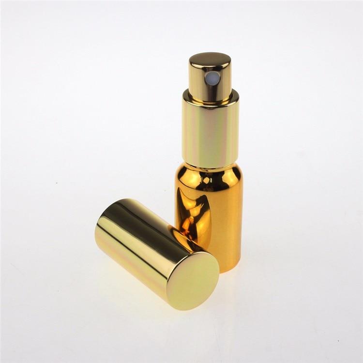 50 piezas de niebla fina dorada 10 ml botella de spray de vidrio para perfume, venta al por mayor pequeña muestra de vidrio botella de spray de 10 ml con bomba de niebla