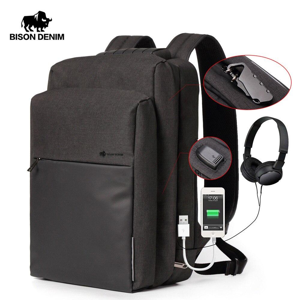 BISON DENIM USB Charging Men Backpack Large Capacity Travel backbag Laptop School Bags For Teenager Multifunctional N2681