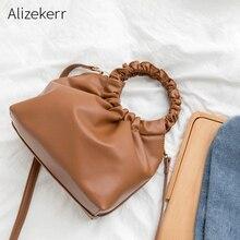 Anneau poignée plié sac à main femmes nouvelle mode coréen rétro doux Simple solide petit Hobos sac à bandoulière dames personnalité décontracté