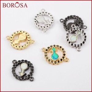 BOROSA Fashion CZ Micro Pave Rainbow Manmade Opal Round Arrow Connector,Black Zircons Pave CZ Connector for Necklace WX638