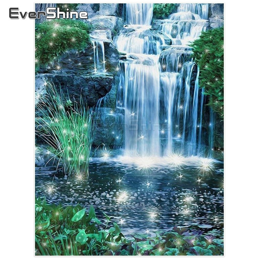 EverShine 5D DIY Diamond Embroidery Waterfall Pictures Of Rhinestones Diamond Painting Cross Stitch Scenery Handmade Home Decor