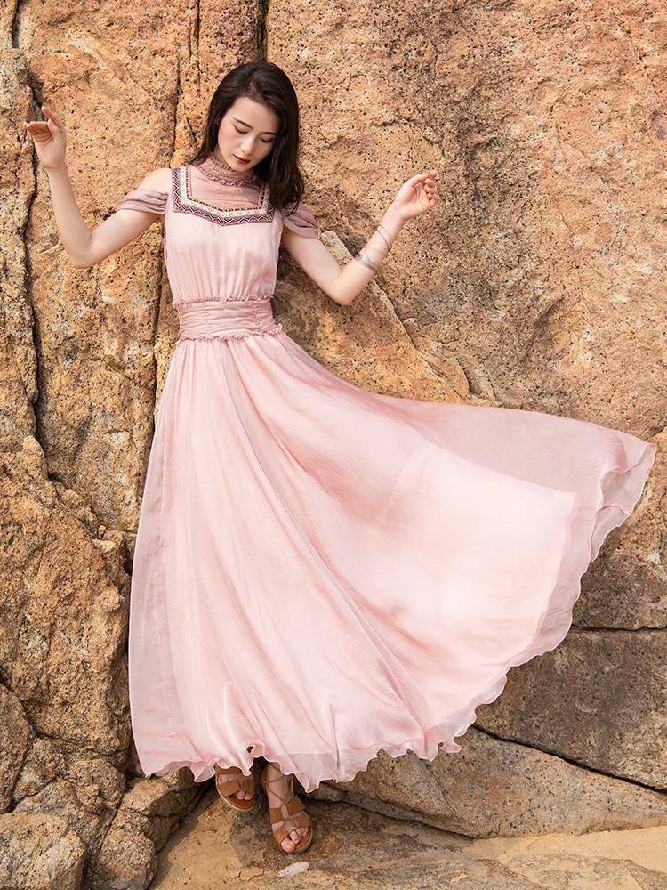 Free Shipping Boshow 2019 New Fashion Women Chiffon Long Maxi Dresses Summer Bohemian Pink Dress S-L Embroidery Mandarin Collar