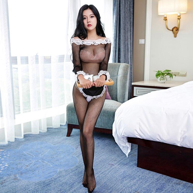 Sexy Erotic Sexy Francese della Domestica Del Vestito Donne Calze A Rete Con Apertura Sul Cavallo Body Grembiule del sesso costume Da Cameriera Cosplay Costume Erotico Porno NW0117