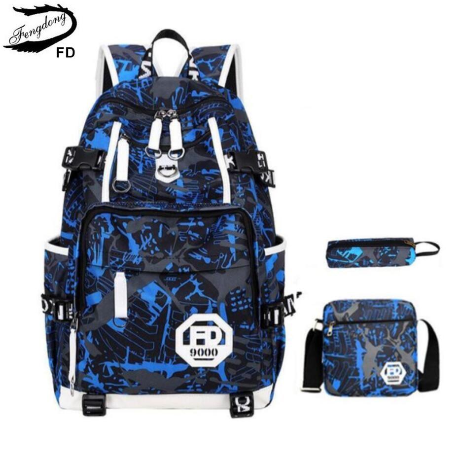 FengDong blue waterproof school bags for boys large school backpack anti theft bag shoulder bags for men laptop bag 15.6 bagpack
