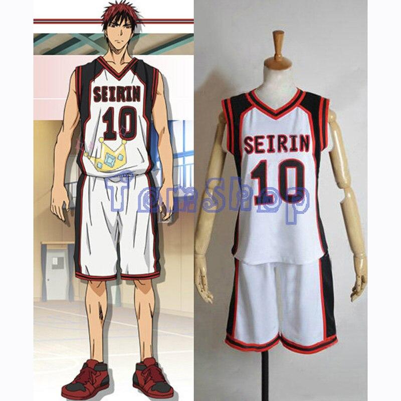 Camiseta de baloncesto de Anime Kuroko no Basuke SEIRIN n. ° 10 Kagami Taiga, disfraz de Cosplay, ropa deportiva para hombre, uniforme, envío gratis