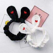 Bandeau avec oreilles de lapin chat brodé   Accessoire pour femmes, maquillage du visage, lavage des cheveux, cadeau pour filles, bandeau élastique, accessoires pour cheveux