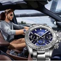 Fashion Multi function Automatic Mechanical Wristwatch Luxury brand LOREO Diver Watch 20bar Screw Crown Leather Strap Clock 2019