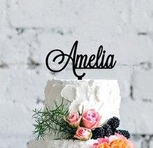 Décoration de gâteau personnalisée avec nom   Cadeau joyeux anniversaire, garniture acrylique personnalisée pour gâteau fête prénatale décorations pour gâteau bébé