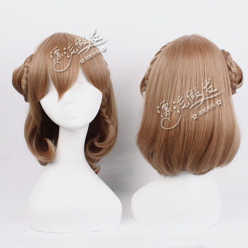 Juego Amnesia Heroine Cosplay peluca con un bollo fiesta de Halloween pelo sintético Amnesia pelucas trenzadas + peluca Cap