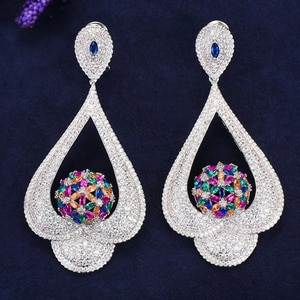 missvikki 7 Colors Hot Full CZ New Design Drop Pendant Earrings for Women Wedding Daily Party Holiday Occasion Earring Jewelry