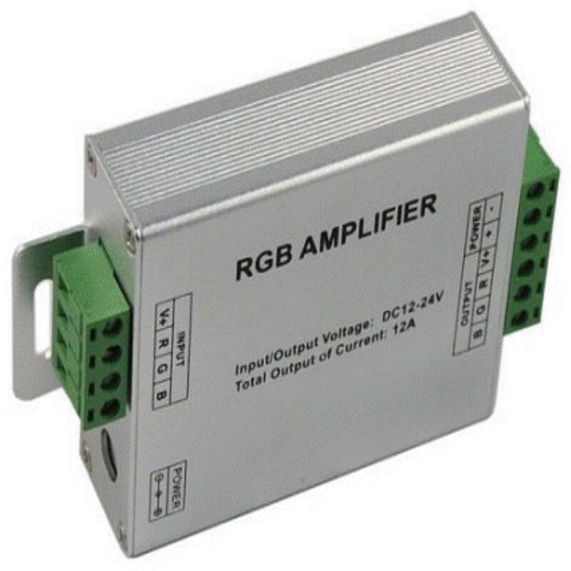 Led light strip controlador amplificador DC 12-24 V 3 canais 4A 8A disponível rgb amplificador