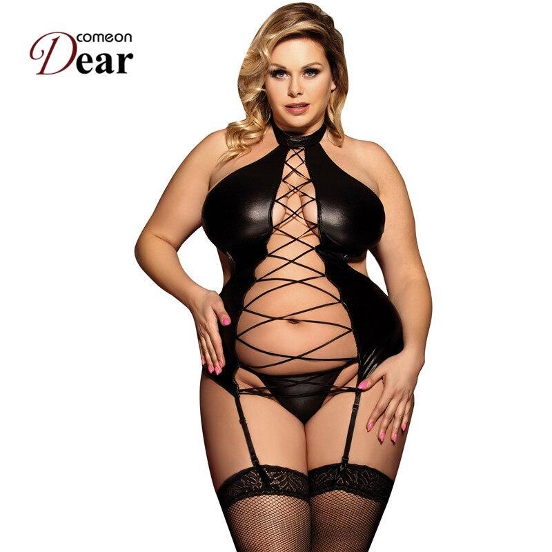 Женский костюм Comeondear, черный эротический костюм с лямкой на шее из искусственной кожи большого размера RA80467