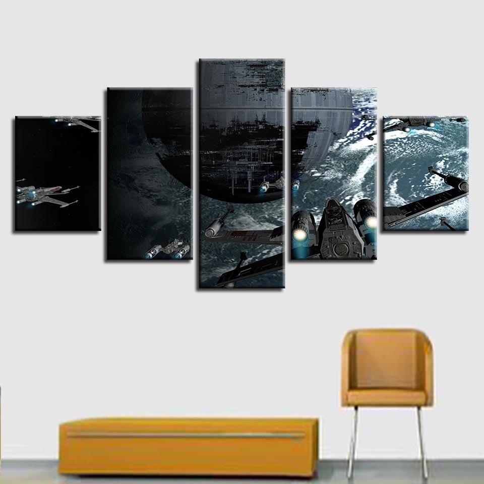 Cartel de estrella Decoración Para sala de estar con impresión HD moderna, 5 piezas, pintura de aviones, lienzo en módulos, cuadros de Star Wars, marco de arte de pared