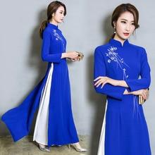 Вьетнамское платье для женщин, китайские традиционные костюмы, Cheongsams, с цветами