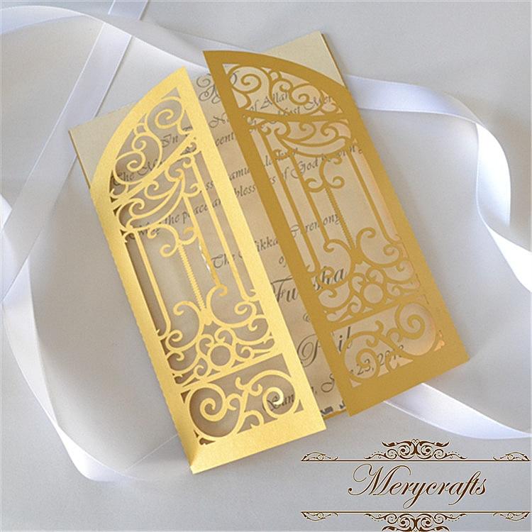50pcs Hand made cheap laser cut folded gate gold pearl wedding invitations card