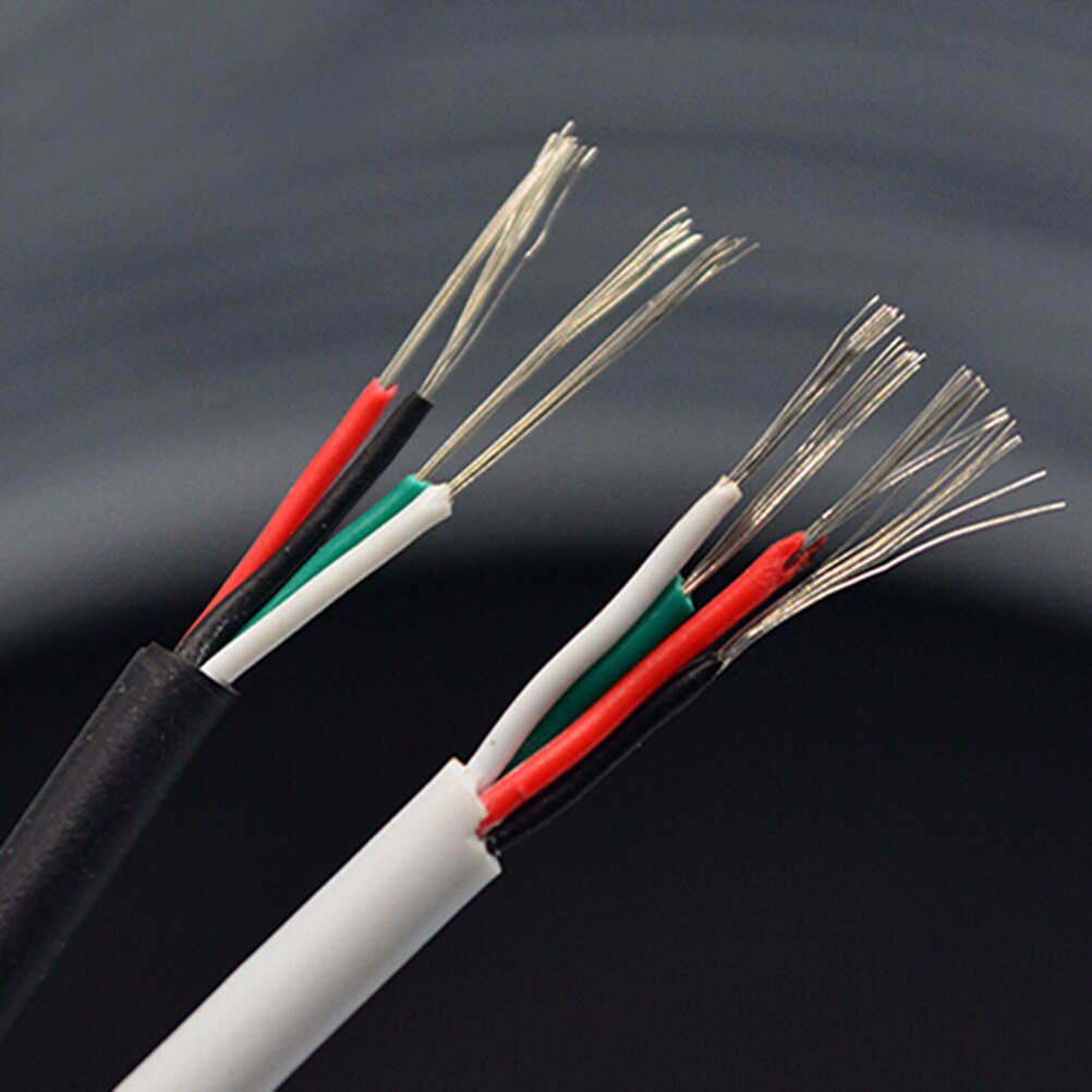 Pvc 4 núcleos blindados sinal fio cabo de fone de ouvido preto branco diâmetro 3mm diy cabo usb 1m