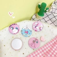 cartoon pocket makeup mirror mini unicorn compact mirrors round portable cosmetic mirrors pink blue color