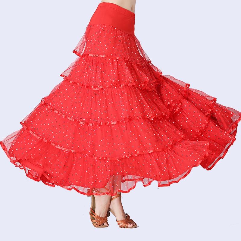 New Flamenco Skirt Latin Salsa Flamenco Ballroom Dance Dress Skirt For Women/ Spain Sequins Waltz Tango Dancing Half Skirts