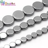 olingart 4mm6mm8mm flat round beads aaa quality natural hematite stone diy necklacebraceletearrings jewelry making
