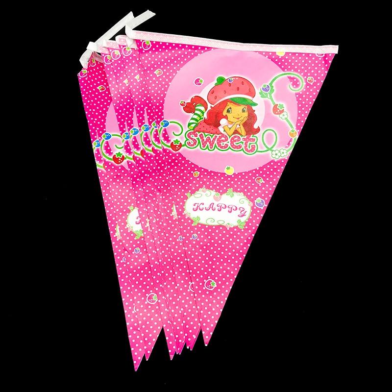 10 pçs/lote Moranguinho partido banners bandeiras do partido de aniversário dos miúdos decorações do partido tema Moranguinho