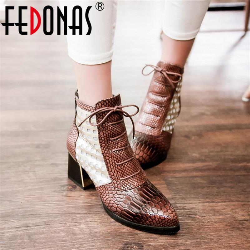 FEDONAS nouvelle mode couleurs mélangées Pu cuir femmes bottines chaussures de fête femme animaux imprime femme bottes courtes grande taille chaussures