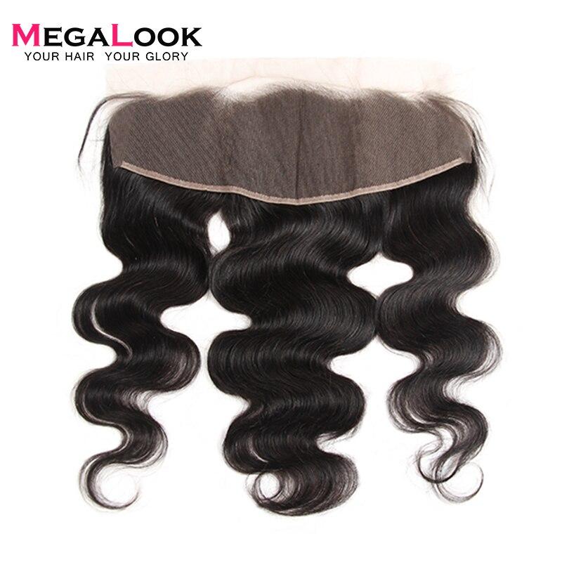 Megalook 13X4 cuerpo onda de encaje Frontal peruano Color Natural Remy cabello humano pre arrancado con el pelo Frontal del bebé 10-22 pulgadas