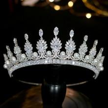 Brillante princesa simple tiare corona cristal perla accesorios para el cabello de la boda de plata banda para el cabello sombre