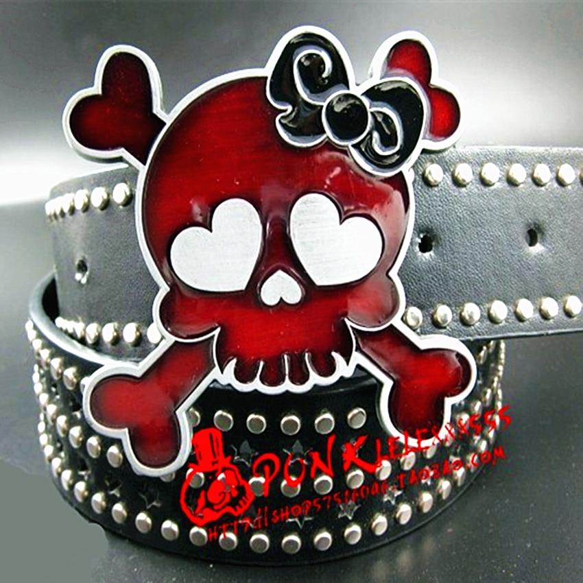 AliExpress - Fashion women's belt punk rock Belt skull bowknot full rivets belts hip hop Heavy metal rock style belts gift for women