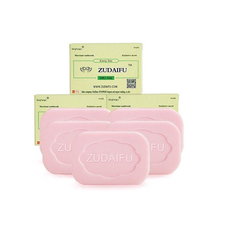 6/10 Uds. Zudaifu jabón de azufre limpiador para el tratamiento de Control de aceite Psoriasis EczemaAnti hongos jabón blanqueador de baño champú jabón hecho a mano