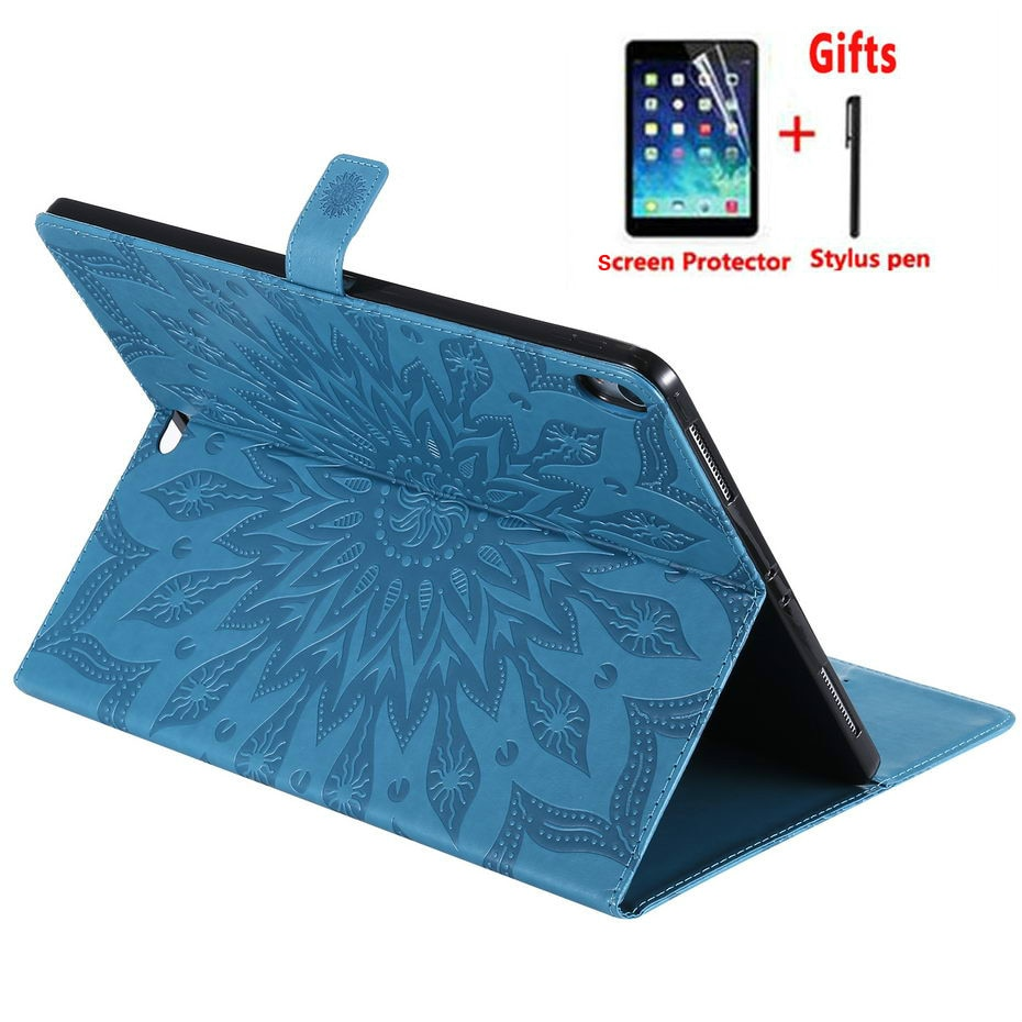 Para iPad Pro 12,9 pulgadas 2018 lanzamiento funda 3D girasol en relieve moda Flip stand cubierta para A1870 A1895 A1983 A2014 funda + película