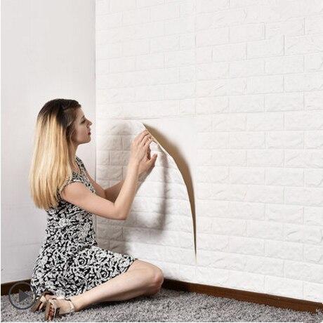 DIY 3D pegatinas de pared auto Espuma adhesiva decoración de ladrillo para habitación papel tapiz decoración de pared adhesivo para la pared del salón para habitación de los niños 70x77cm