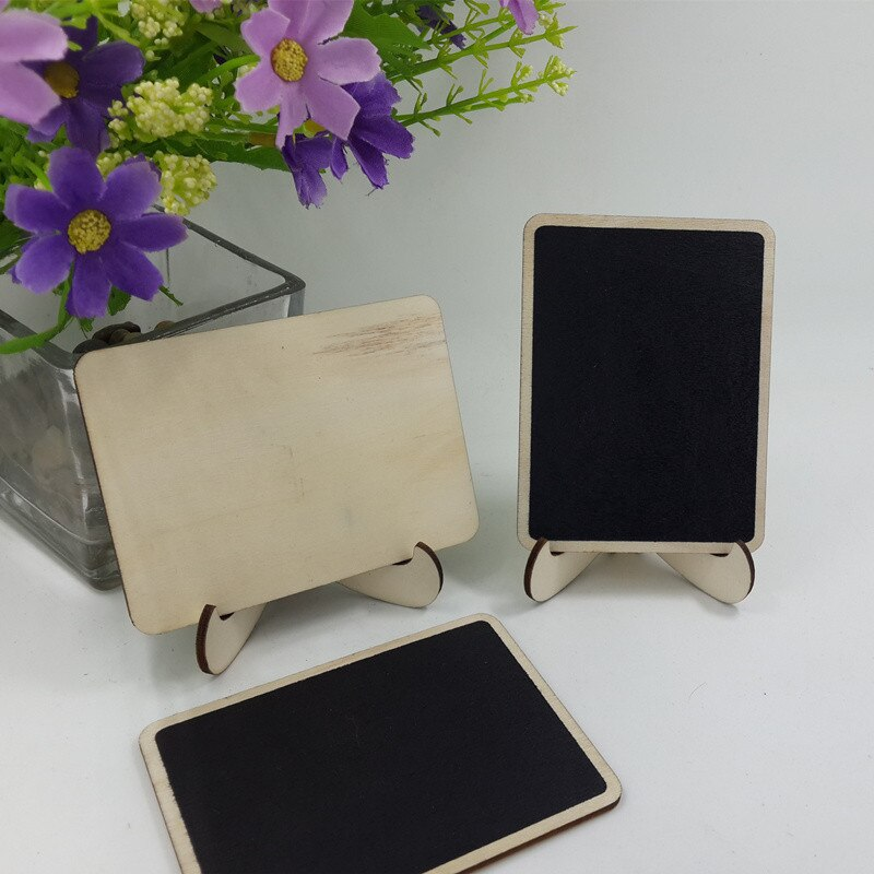 10Pcs/Pack DIY Mini Blackboard Square Wooden Wedding Decoration Price Display Stand For Christmas Party Decor