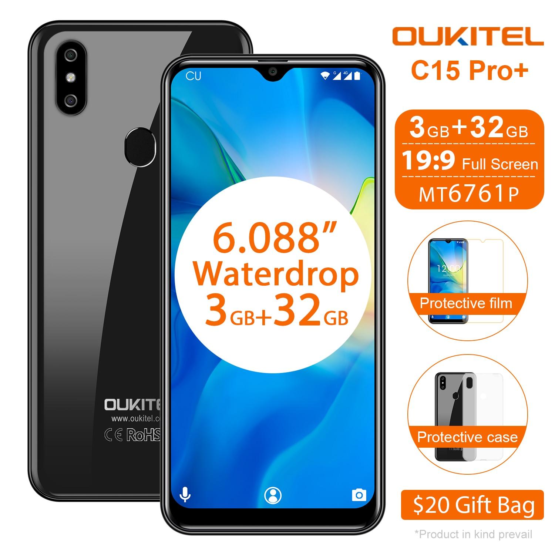 Перейти на Алиэкспресс и купить OUKITEL C15 Pro 6,088 ''4G смартфон 3 ГБ 32 ГБ MT6761 экран с каплями воды 2,4G/5G WiFi мобильный телефон C15 Pro + Распознавание отпечатков пальцев